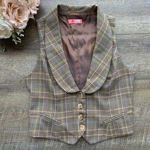 Lux Brown Plaid Vintage Style Vest